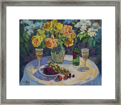 Roses And Chardonnay Framed Print by Diane McClary