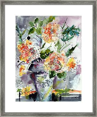 Roses Impressionists Heirloom Watercolor Still Life  Framed Print by Ginette Callaway