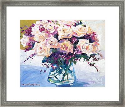 Roses In Glass Framed Print by David Lloyd Glover