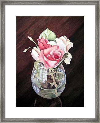 Roses In The Glass Vase Framed Print by Irina Sztukowski