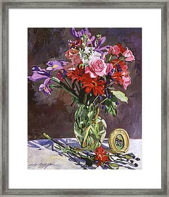 Roses Irises And Gerbras Framed Print by David Lloyd Glover