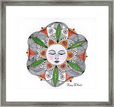 Roses'n Pods Mandala Framed Print by Nancy TeWinkel Lauren