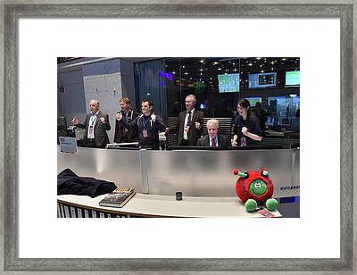 Rosetta Mission Control Team Framed Print by Esa/j. Mai