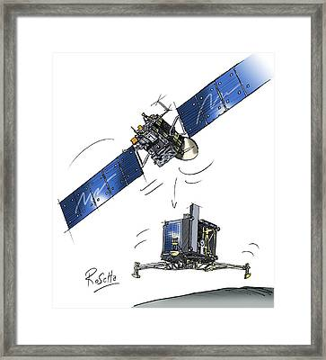 Rosetta Spacecraft Framed Print by European Space Agency,c. Vijoux