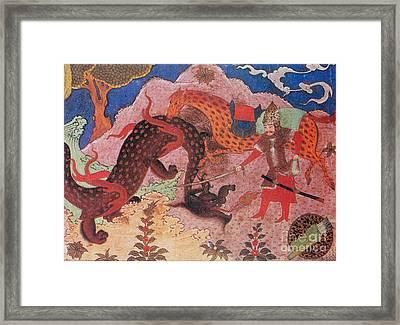 Rostam Kills The Dragon Framed Print by Photo Researchers