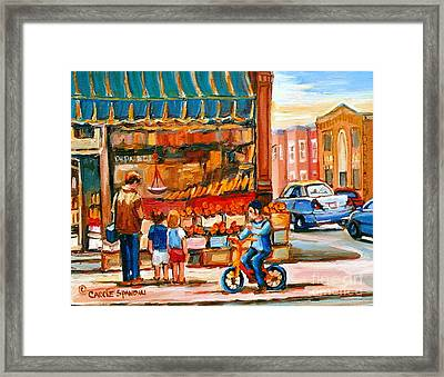 Roter's Fifties Fruit Store Vintage Montreal City Scene Paintings Framed Print by Carole Spandau