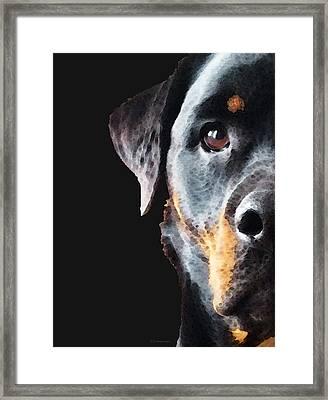 Rottie Love - Rottweiler Art By Sharon Cummings Framed Print by Sharon Cummings