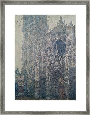 Rouen Cathedral West Portal Grey Weather Framed Print by Claude Monet