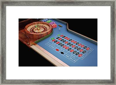 Roulette Table And Wheel Framed Print by Leonello Calvetti