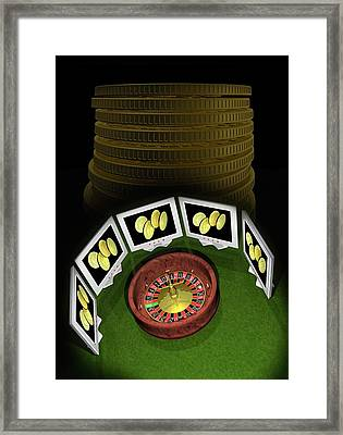 Roulette Wheel And Bitcoins Framed Print by Victor Habbick Visions