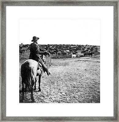 Round-up Time In Kansas Framed Print by Underwood Archives