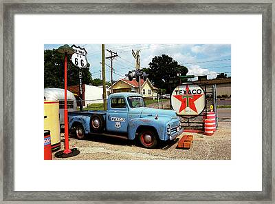 Route 66 - Gas Station With Watercolor Effect Framed Print by Frank Romeo