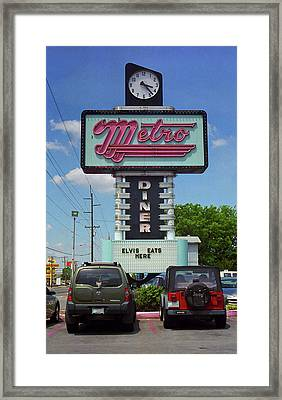 Route 66 - Metro Diner Framed Print by Frank Romeo