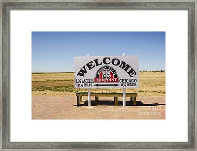 Route 66 Midpoint Sign Adrian Texas Framed Print by Deborah Smolinske