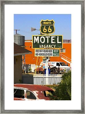 Route 66 Motel - Barstow Framed Print by Mike McGlothlen