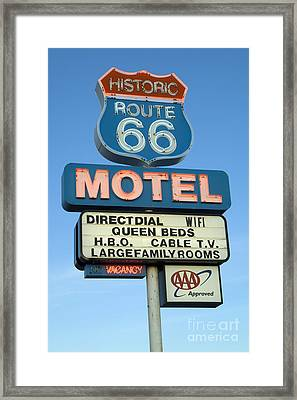Route 66 Motel Sign 3 Framed Print by Bob Christopher