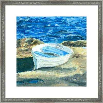 Row Boat In York Maine Framed Print by Dominic White