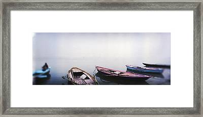 Row Boats In A River, Ganges River Framed Print by Panoramic Images
