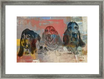 Row Of Basset Hounds Framed Print by Michelle Wolff