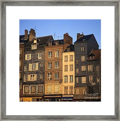 Row Of Houses. Honfleur Harbour. Calvados. Normandy. France. Europe Framed Print by Bernard Jaubert