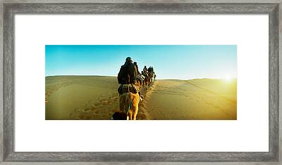 Row Of People Riding Camels Framed Print by Panoramic Images