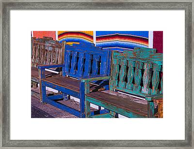 Row Of Wooden Benches Framed Print by Garry Gay