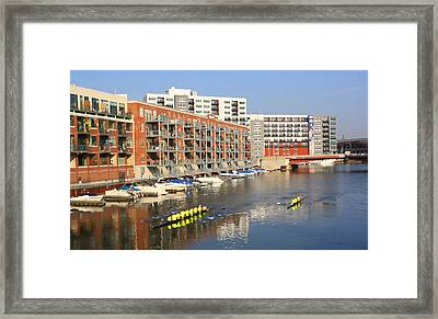 Rowers Milwaukee River 2 Framed Print by Geoff Strehlow