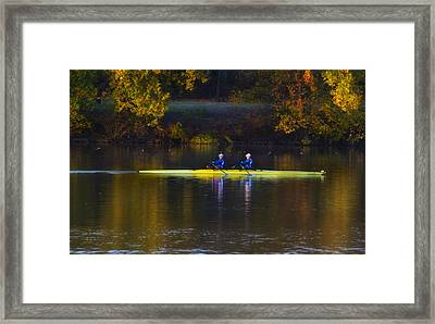 Rowing In Autumn Framed Print by Bill Cannon