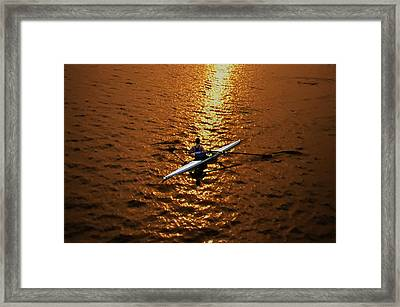 Rowing Into The Sunset Framed Print by Bill Cannon