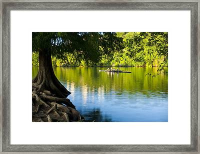 Rowing Past Red Bud Island Framed Print by Mark Weaver