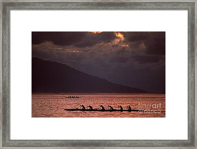 Rowing Teams Framed Print by James L. Amos