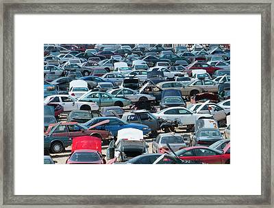 Rows Of Old Wrecked Cars In Junk Yard Framed Print by Bill Bachmann