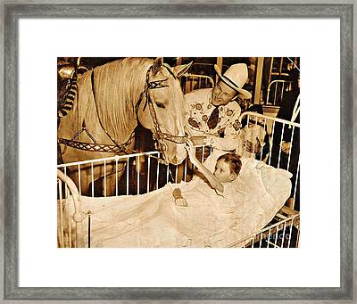 Roy Rogers And Trigger With A Polio Victim In Pittsburgh Framed Print by Unknown