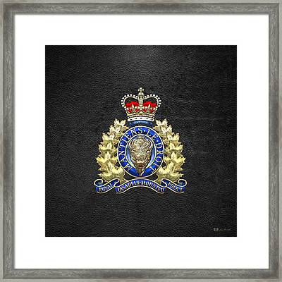 Royal Canadian Mounted Police - Rcmp Badge On Black Leather Framed Print by Serge Averbukh