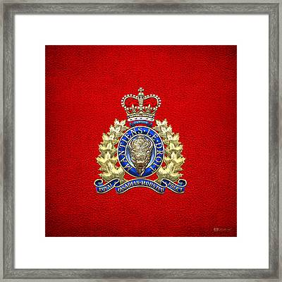 Royal Canadian Mounted Police - Rcmp Badge On Red Leather Framed Print by Serge Averbukh