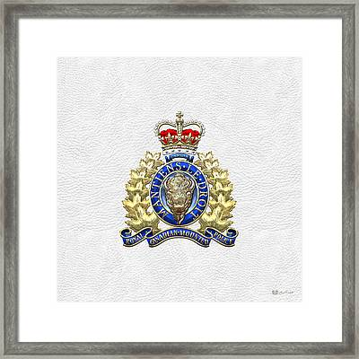 Royal Canadian Mounted Police - Rcmp Badge On White Leather Framed Print by Serge Averbukh