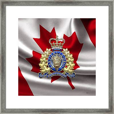 Royal Canadian Mounted Police - Rcmp Badge Over Waving Flag Framed Print by Serge Averbukh