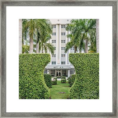 Royal Palm Hotel On South Beach Miami - Square Crop Framed Print by Ian Monk