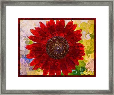 Royal Red Sunflower Framed Print by Omaste Witkowski