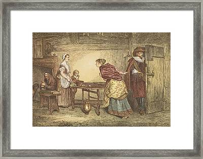 Royalists Seeking Refuge In The House Framed Print by Marcus Stone