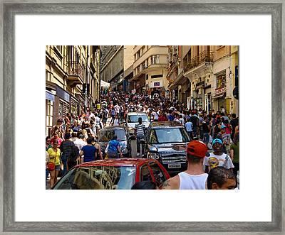 Rua 25 De Marco - Sao Paulo Framed Print by Julie Niemela