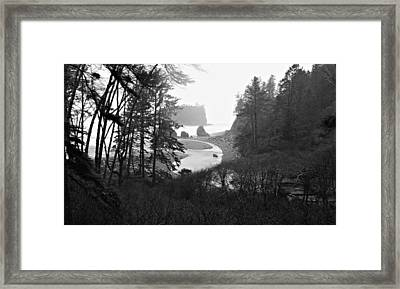 Ruby Beach In The Winter In Black And White Framed Print by Jeanette C Landstrom