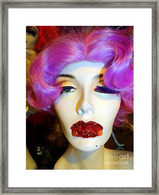 Ruby Red Lips Framed Print by Ed Weidman