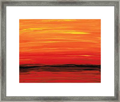 Ruby Shore - Red And Orange Abstract Framed Print by Sharon Cummings