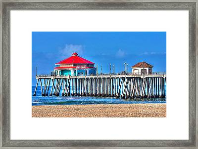 Ruby's Surf City Diner - Huntington Beach Pier Framed Print by Jim Carrell