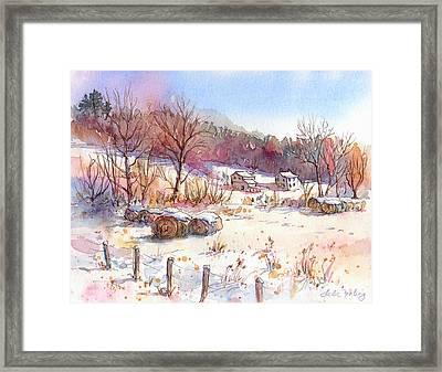 Ruff Creek Winter Framed Print by Leslie Fehling