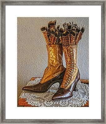 Ruffed Grouse Feathers In Shoes Framed Print by Timothy Flanigan and Debbie Flanigan Nature Exposure