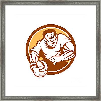 Rugby Player Running Ball Circle Linocut Framed Print by Aloysius Patrimonio