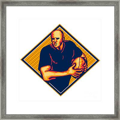 Rugby Player Running Ball Retro Framed Print by Aloysius Patrimonio