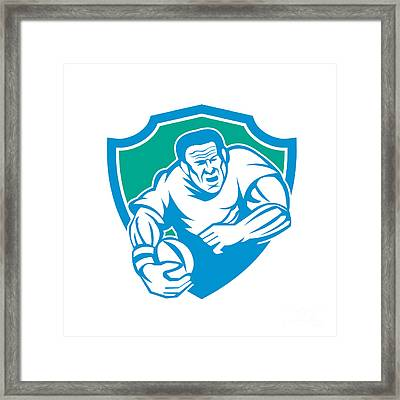 Rugby Player Running Ball Shield Linocut Framed Print by Aloysius Patrimonio
